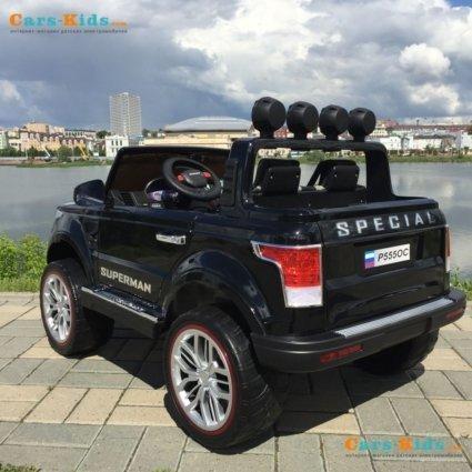 Электромобиль Range Rover XMX601 4WD 2-х местный, черный (легкосъемный АКБ 12v10ah, колеса резина, сиденье кожа, пульт, музыка)