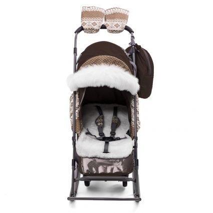 Санки-коляски Pikate Скандинавия «Шоколад» (материал «Dewspoo» плотностью 240 D, овчина, 3 положения спинки, краска рамы темно-серый)