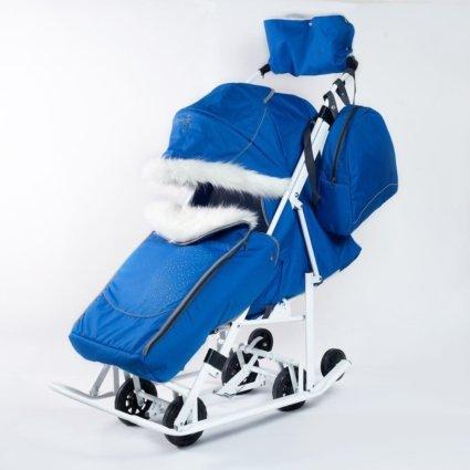 Санки-коляски Pikate Снеговик «Василек» (материал «Oxford» плотностью 600 D, овчина, 3 положения спинки, краска рамы белый)